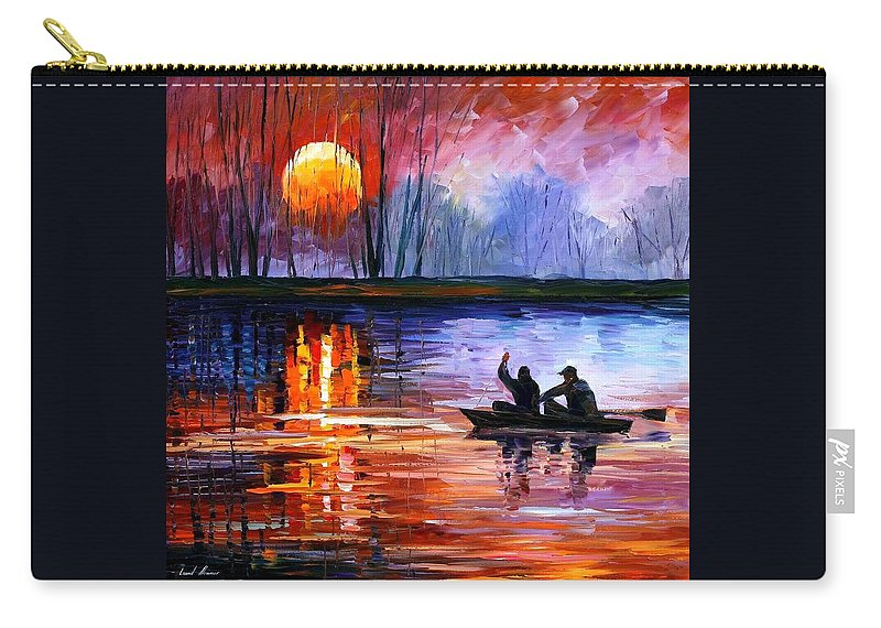 Seascape Carry-all Pouch featuring the painting Fishing On The Lake by Leonid Afremov