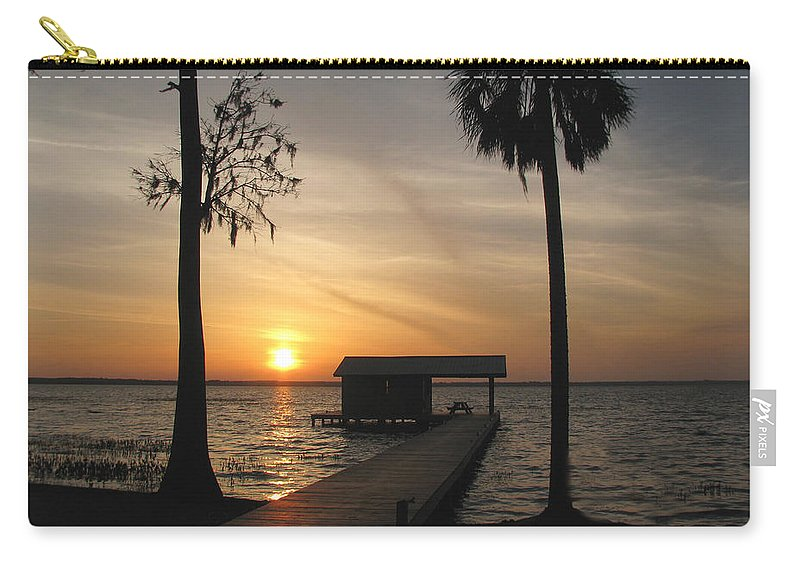 Landscape Carry-all Pouch featuring the photograph Fishing Pier At Dusk by Peg Urban