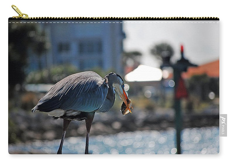Gray Heron Carry-all Pouch featuring the photograph Fishing by Robert Meanor