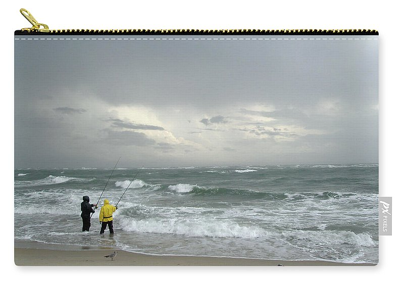 Fishing Carry-all Pouch featuring the photograph Fishing Through The Storm - Diamond Shoals Nc by Mother Nature