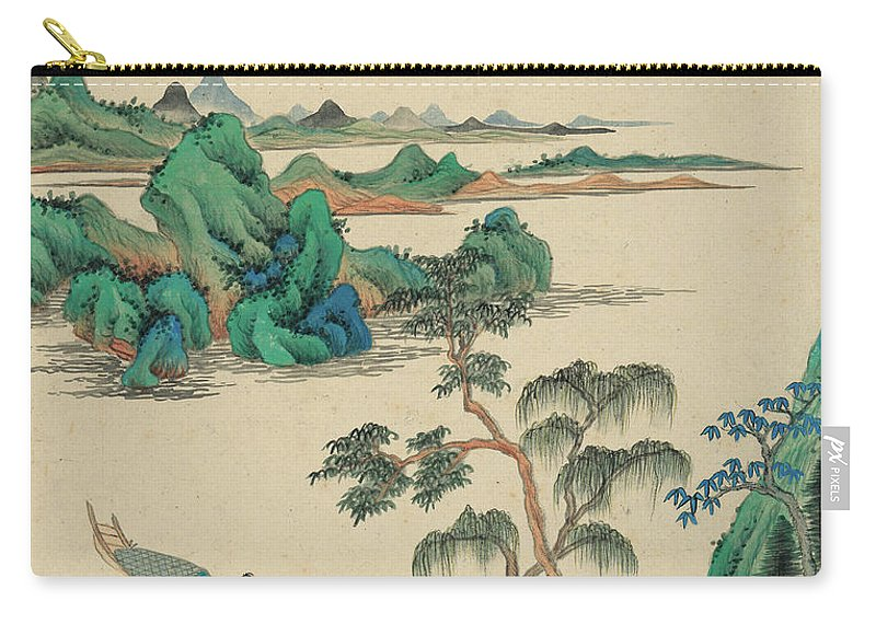 Carry-all Pouch featuring the painting Fishing by Wang Jian