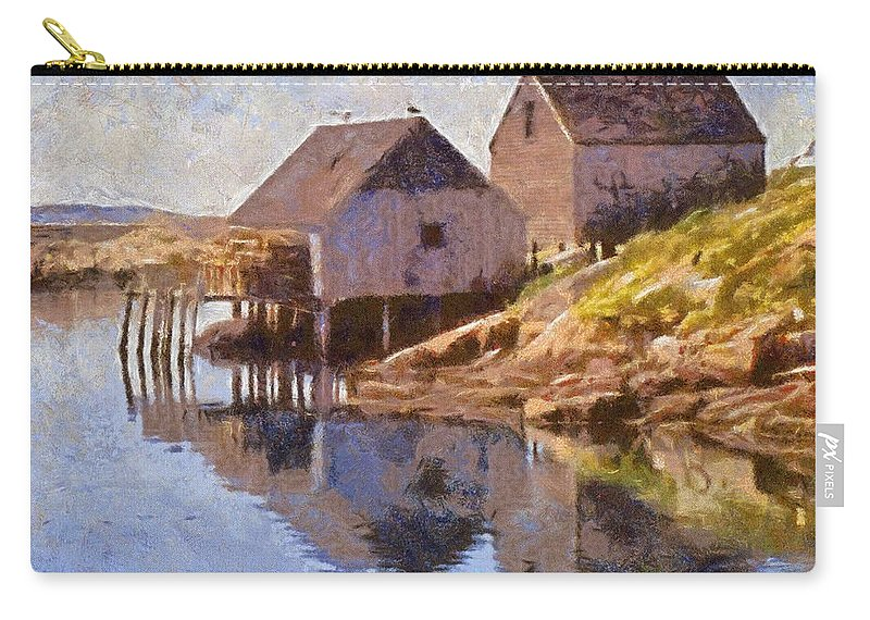 Canadian Carry-all Pouch featuring the painting Fishing Wharf by Jeffrey Kolker
