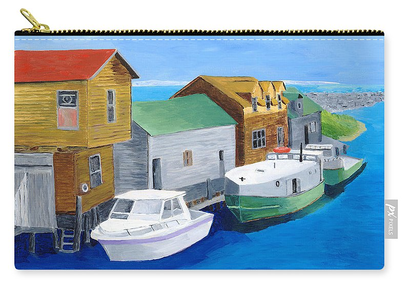 Fishtown Carry-all Pouch featuring the painting Fishtown by Rodney Campbell
