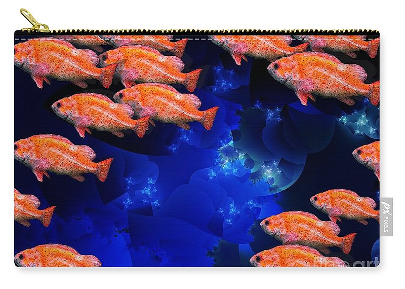 Fish Art Carry-all Pouch featuring the digital art Fishy by Ron Bissett