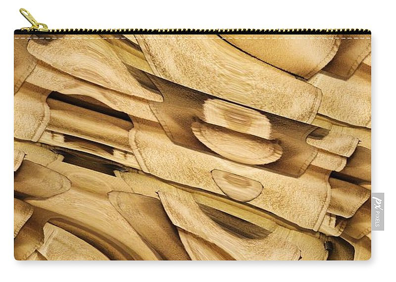 Abstract Carry-all Pouch featuring the digital art Fitted Wood by Ron Bissett