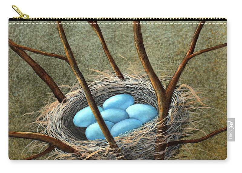 Birds Carry-all Pouch featuring the painting Five Blue Eggs by Frank Wilson