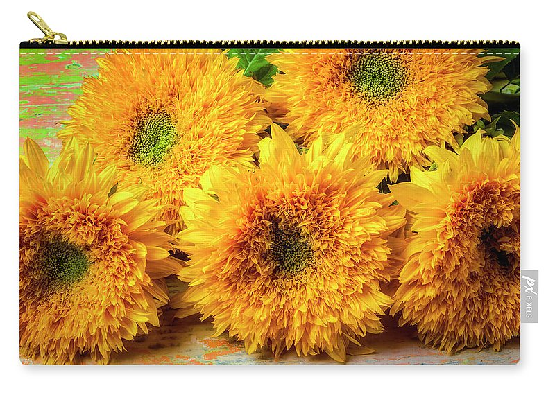 Sunflower Carry-all Pouch featuring the photograph Five Exotic Sunflowers by Garry Gay