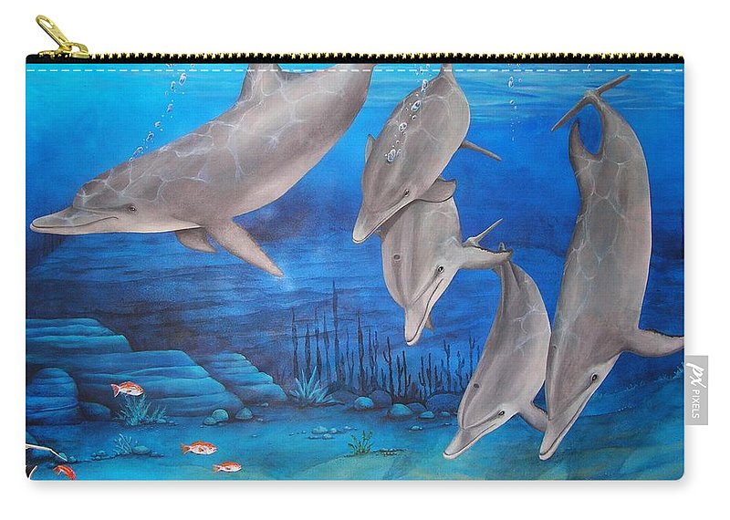 Dolphin Carry-all Pouch featuring the painting Five Friends by Cindy D Chinn