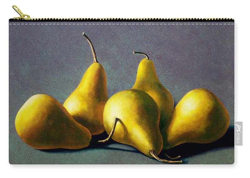 Still Life Carry-all Pouch featuring the painting Five Golden Pears by Frank Wilson