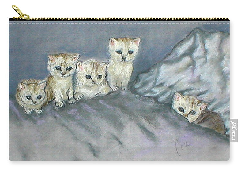 Cats Carry-all Pouch featuring the drawing Five Kitties by Cori Solomon