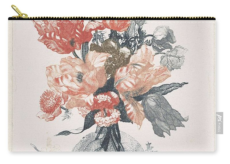 Flower Carry-all Pouch featuring the painting Five Prints With Flowers In Glass Vases, Anonymous, After Jean Baptiste Monnoyer, 1688 - 1698 by Jean Baptiste Monnoyer