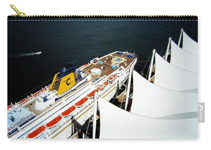 Five Sails Carry-all Pouch featuring the photograph Five Sails And A Ship by Will Borden