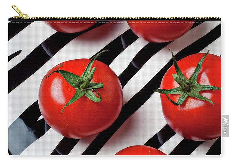 Tomato Carry-all Pouch featuring the photograph Five Tomatoes by Garry Gay