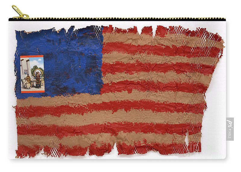 Flag Carry-all Pouch featuring the mixed media Flag 2 by Jaime Becker