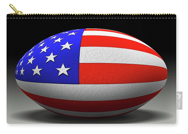 Football Carry-all Pouch featuring the digital art Flag Football by Mike McGlothlen