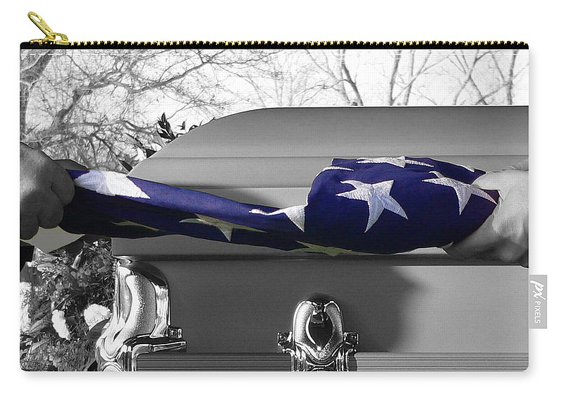 Flag Carry-all Pouch featuring the photograph Flag For The Fallen - Selective Color by Al Powell Photography USA