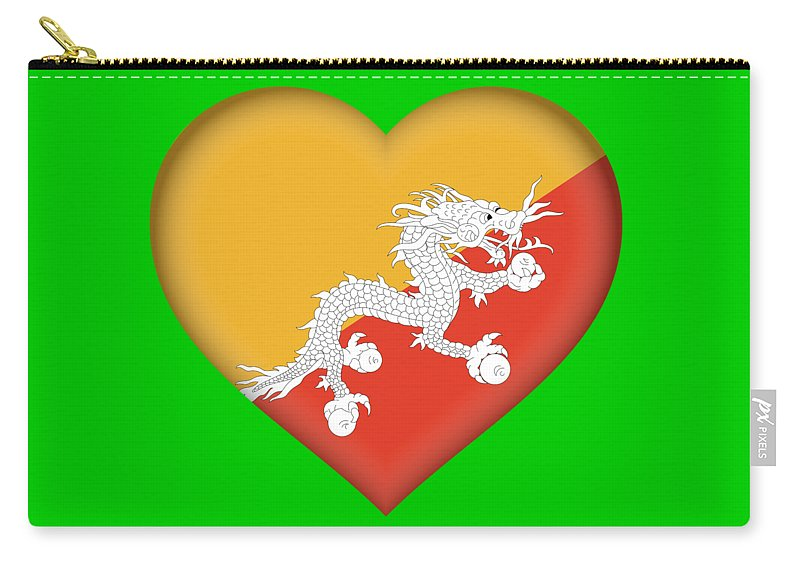 Asia Carry-all Pouch featuring the digital art Flag Of Bhutan Heart by Roy Pedersen