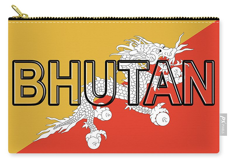 Asia Carry-all Pouch featuring the digital art Flag Of Bhutan Word by Roy Pedersen