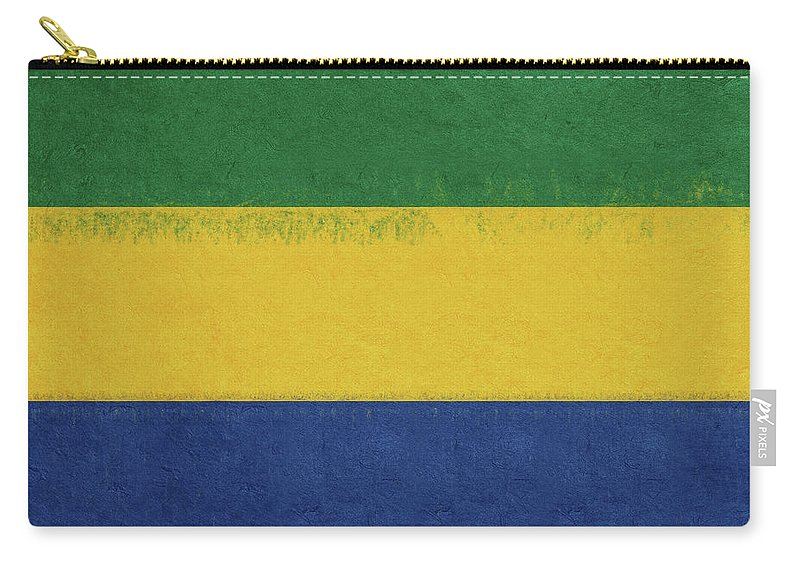 Africa Carry-all Pouch featuring the digital art Flag Of Gabon Grunge. by Roy Pedersen