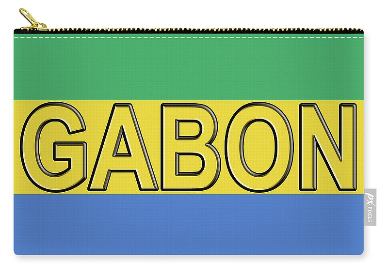 Africa Carry-all Pouch featuring the digital art Flag Of Gabon Word. by Roy Pedersen