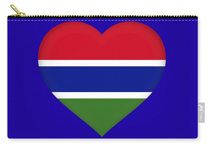 Africa Carry-all Pouch featuring the digital art Flag Of Gambia Heart by Roy Pedersen