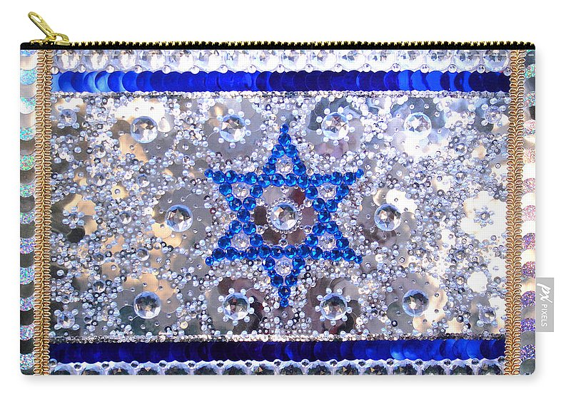 Bead Carry-all Pouch featuring the painting Flag Of Israel. Bead Embroidery With Crystals by Sofia Metal Queen