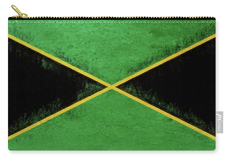 Caribbean Carry-all Pouch featuring the digital art Flag Of Jamaica Grunge by Roy Pedersen