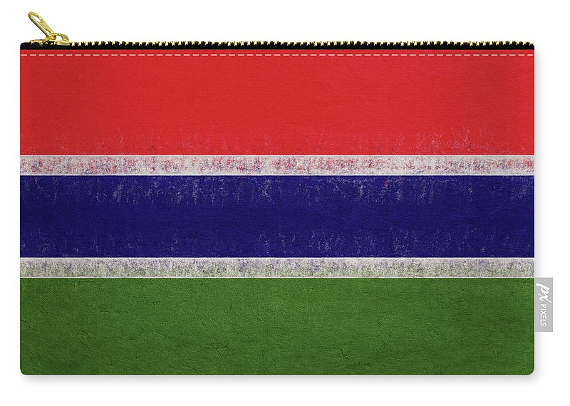 Africa Carry-all Pouch featuring the digital art Flag Of The Gambia Grunge. by Roy Pedersen