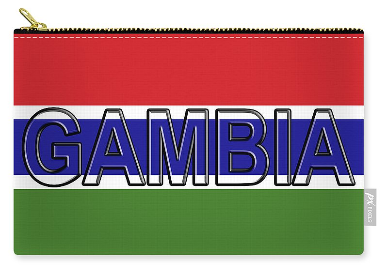 Africa Carry-all Pouch featuring the digital art Flag Of The Gambia Word. by Roy Pedersen