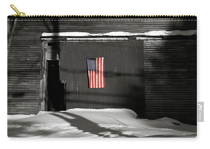 Barn Carry-all Pouch featuring the photograph Flag On A Wentworth Barn by Wayne King