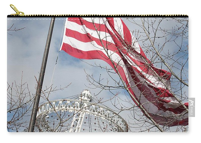 American Flag Carry-all Pouch featuring the photograph Flag Over Spokane Pavilion by Carol Groenen