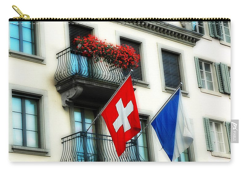 Europe Carry-all Pouch featuring the photograph Flags Of Switzerland And Zurich by Ginger Wakem