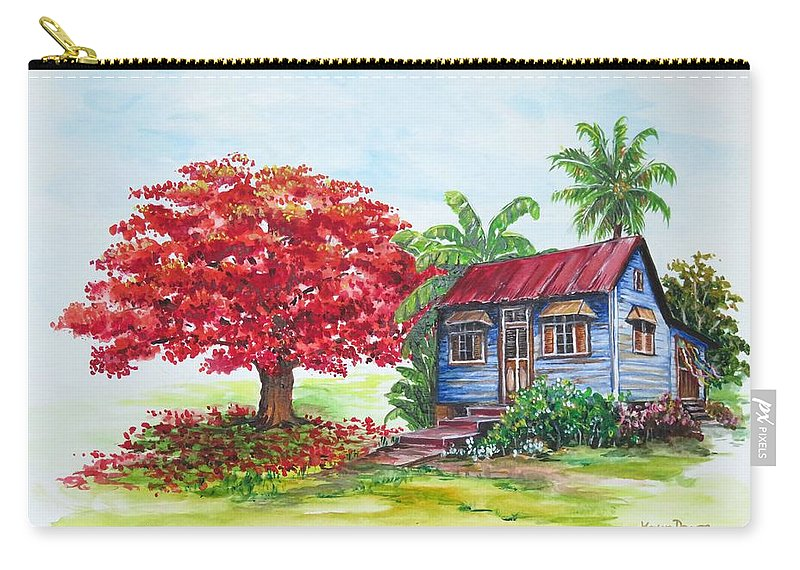 Trinidad House Carry-all Pouch featuring the painting Flamboyant And House by Karin Dawn Kelshall- Best