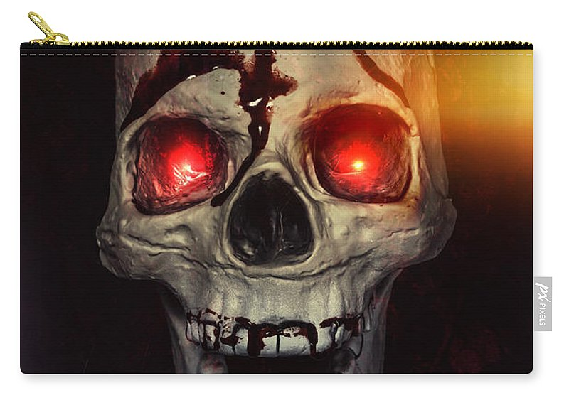 Skull Carry-all Pouch featuring the photograph Flame Eyes by Joana Kruse