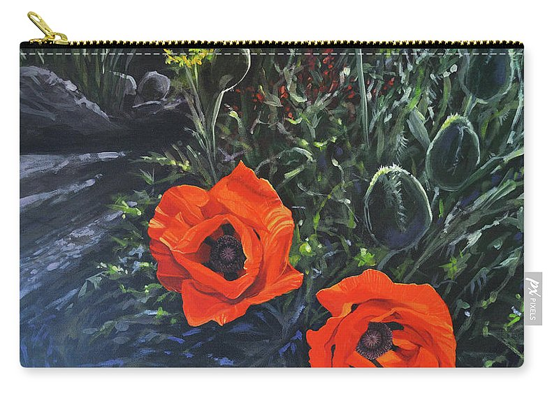 Poppy Carry-all Pouch featuring the painting Flame of the West by Hunter Jay