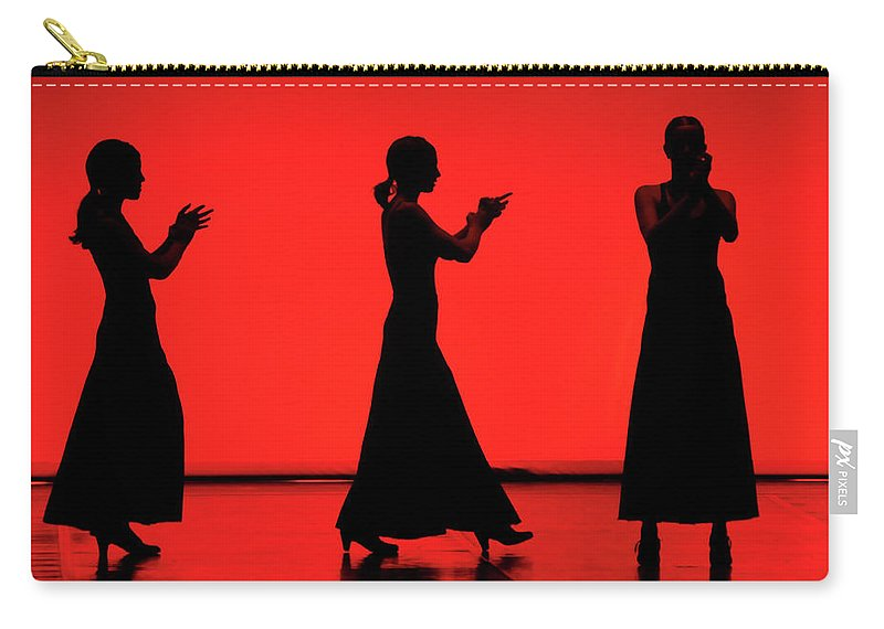 Red Carry-all Pouch featuring the photograph Flamenco Red An Black Spanish Passion For Dance And Rithm by Pedro Cardona Llambias