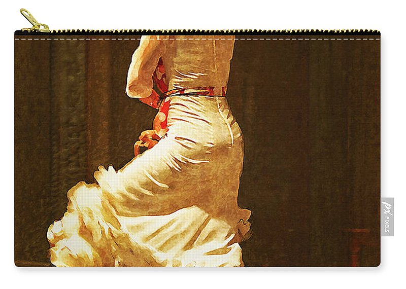 Flamenco Dancer #20 Carry-all Pouch featuring the photograph Flamenco Dancer #20 - The White Dress by Mary Machare