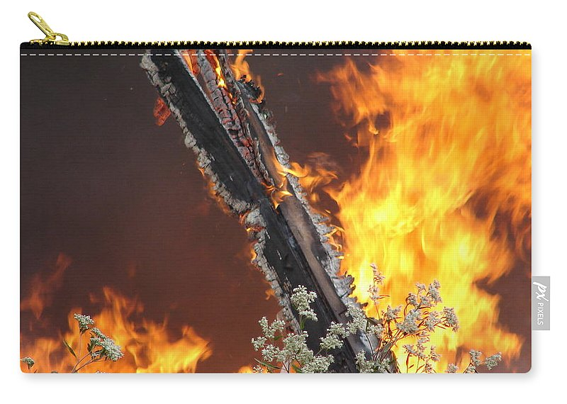 Fire Wood Flames Flowers Carry-all Pouch featuring the photograph Flames Of Age by Luciana Seymour
