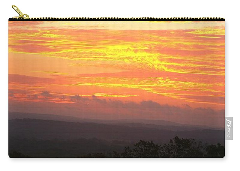 Sunrise Carry-all Pouch featuring the photograph Flaming Autumn Sunrise by Nadine Rippelmeyer