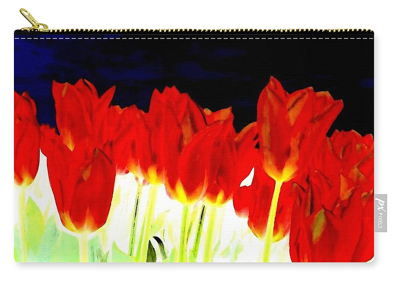 Red Tulips Carry-all Pouch featuring the digital art Flaming Red Tulips by Will Borden