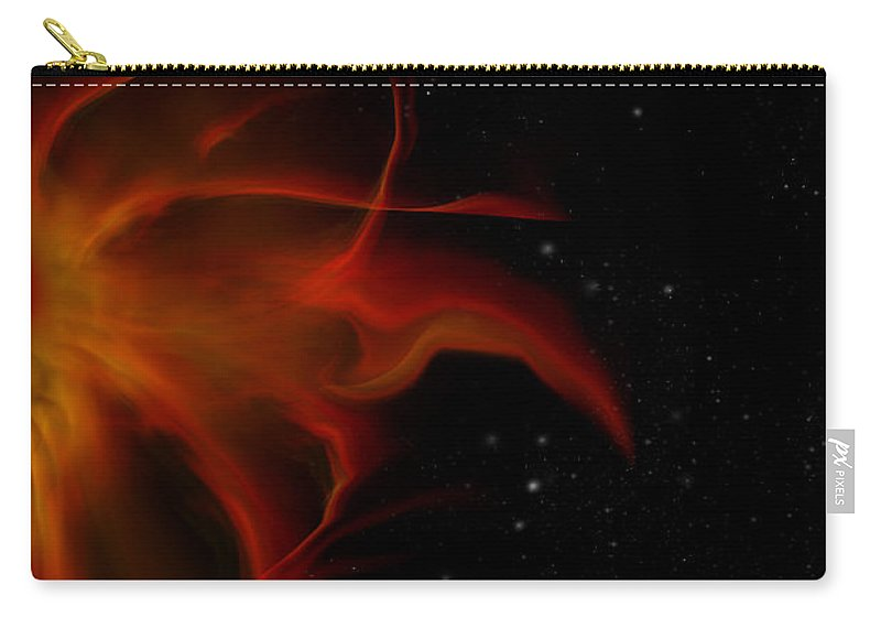 Flaming Carry-all Pouch featuring the digital art Flaming Sun by Julie Rodriguez Jones