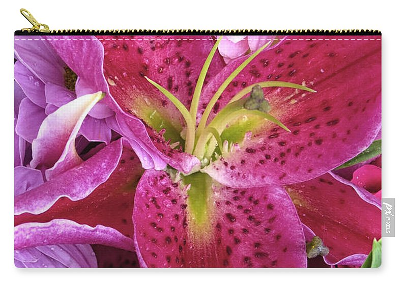 Lily Carry-all Pouch featuring the photograph Flaming Tiger Lily by Dave Mills