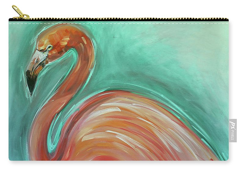 Flamingo Carry-all Pouch featuring the painting Flamingo by Alan Metzger