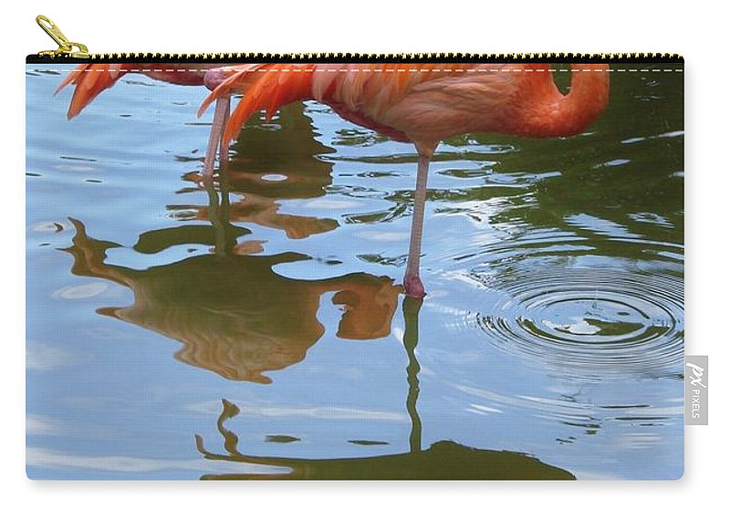 Flamingo Carry-all Pouch featuring the photograph Flamingo Reflections by Margaret Bobb