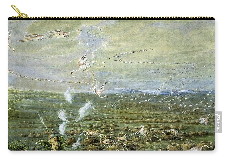 Hunting Carry-all Pouch featuring the painting Flamingo Shooting In South America by George Catlin