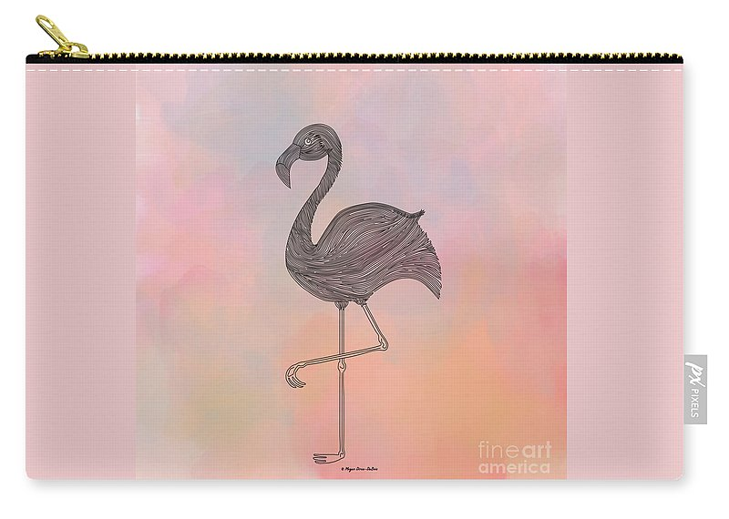 Bird Carry-all Pouch featuring the digital art Flamingo1 by Megan Dirsa-DuBois