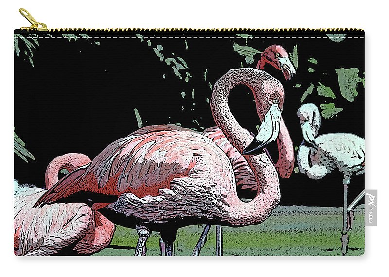 Pink Carry-all Pouch featuring the photograph Flamingos I by Jim And Emily Bush