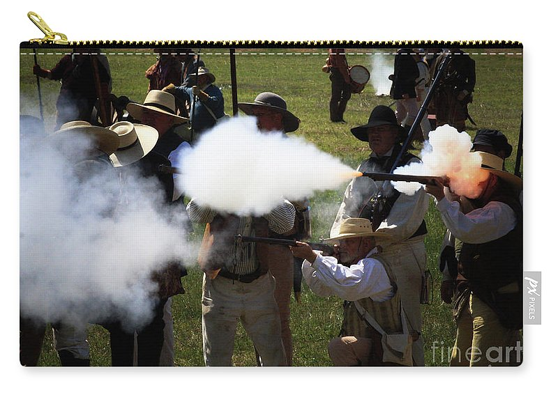 Re-enactment Carry-all Pouch featuring the photograph Flash Fire by Kim Henderson