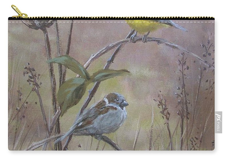 Birds Carry-all Pouch featuring the painting Flashy Friend by Karen Ilari