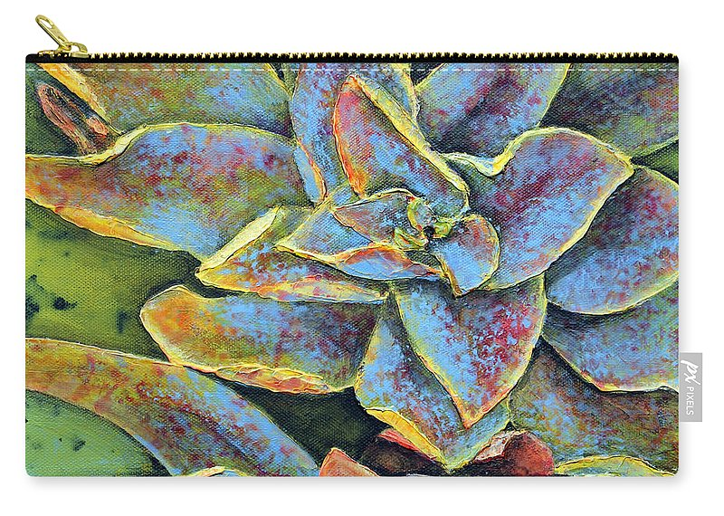 Succulent Carry-all Pouch featuring the painting Flashy Succulent by Patricia Pasbrig